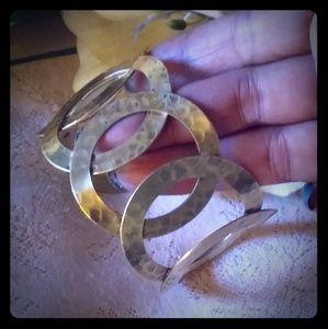 Vintage Hammered Metal Circles Cuff Bracelet